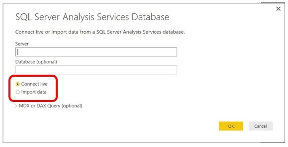 Click connect live when when connecting to SQL Server Analysis Services database