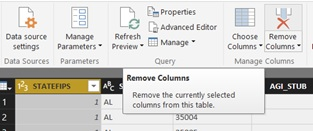 How to remove columns