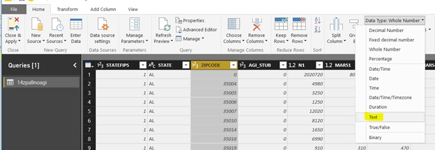How to find the data type drop down of text