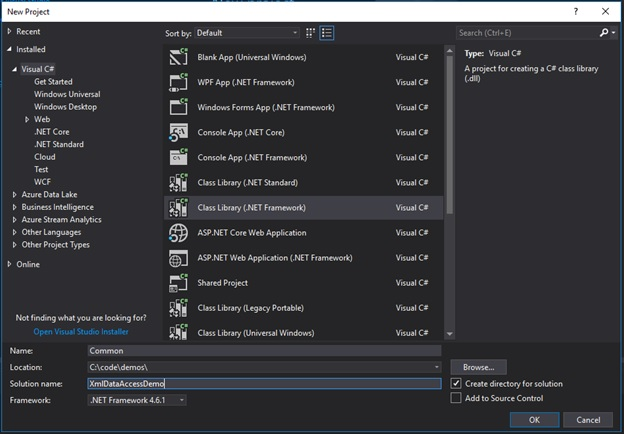 "Add a new project named ""common"" in Visual Studio"